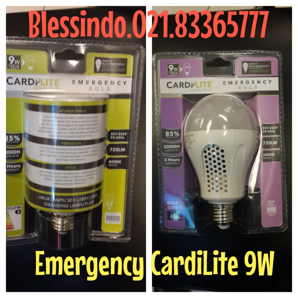 lampu bulb led emergency 9watt merk Cardilite