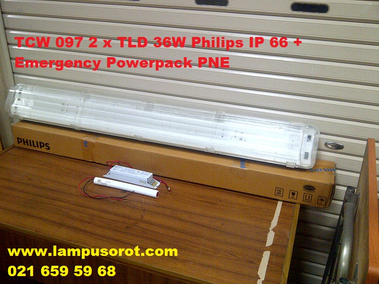 Lampu TL Waterproof TCW 097 236 Philips + Powerpack Battery