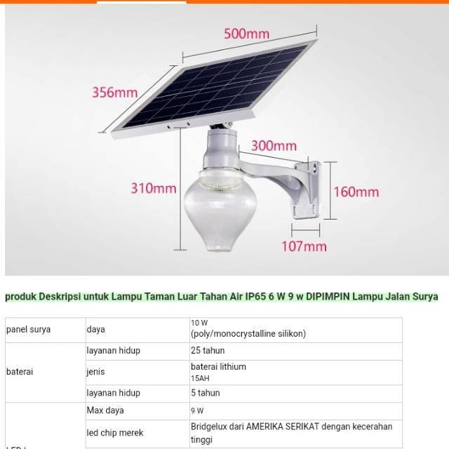Lampu taman  all in one solar cell